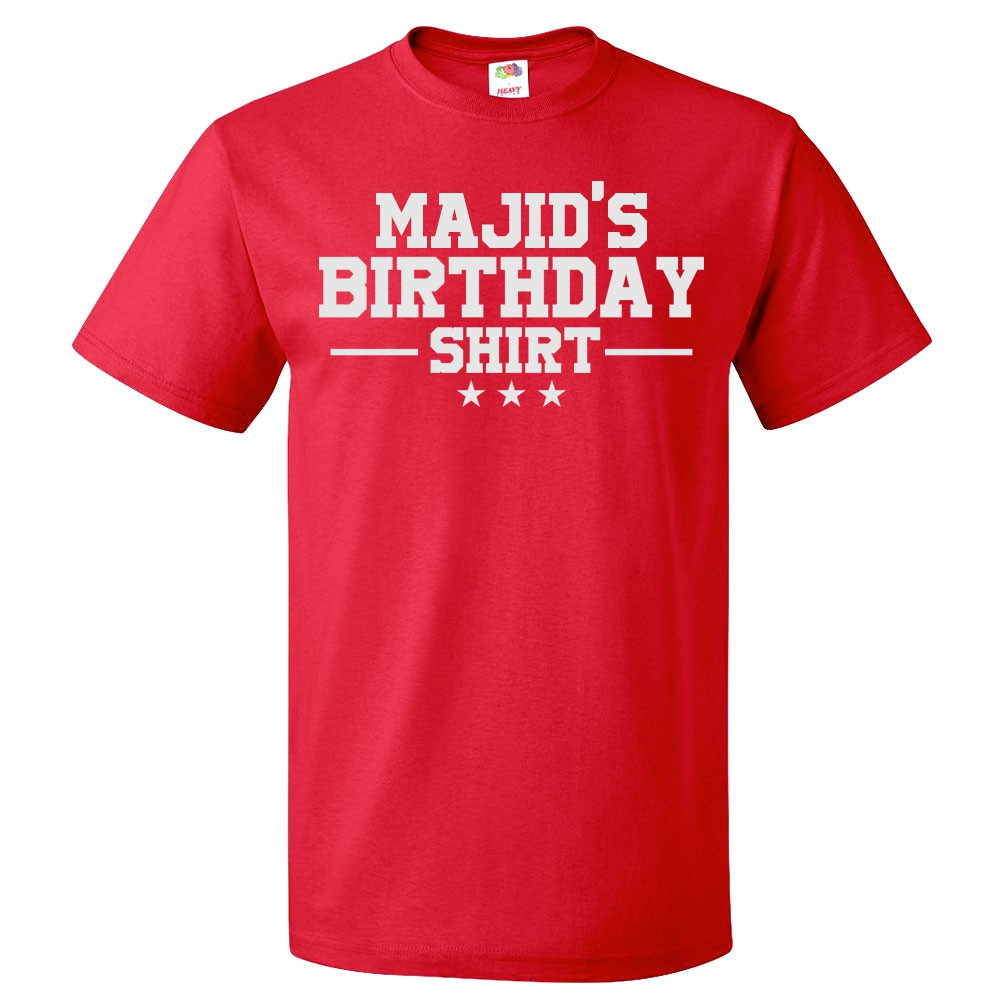 Birthday T Shirt Majid Gift Happy Bday Tee